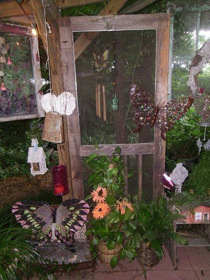 Rita Kromer's door is the background for all her Flea Market treasures