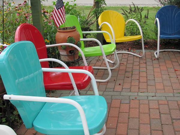 Antique metal  Motel chairs  in the garden   Flea Market Gardening. Antique Motel Chairs. Home Design Ideas