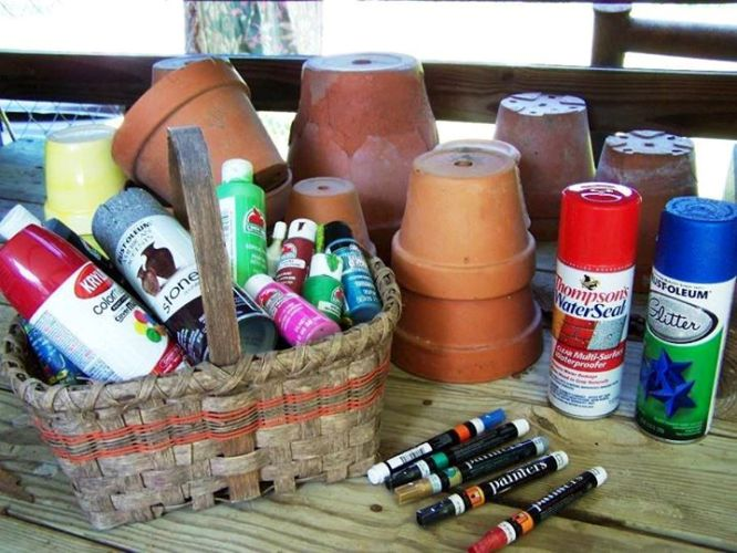 Materials for Sue Jordan's painted fairy houses