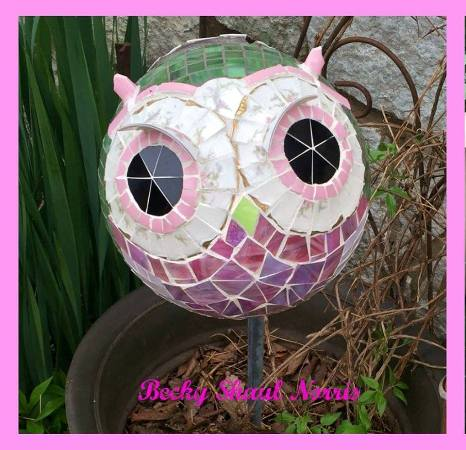 Becky Norris's finished Bowling Ball Owl