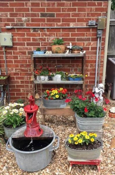 Brenda Townzen My water feature and cute galvanized tubs !