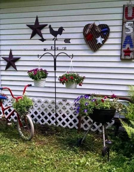 Margie Ann finished a 'patriotic vignette' on and in front of her shed
