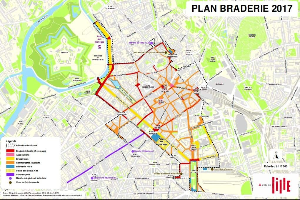 Detailed map of the Grande Braderie de Lille