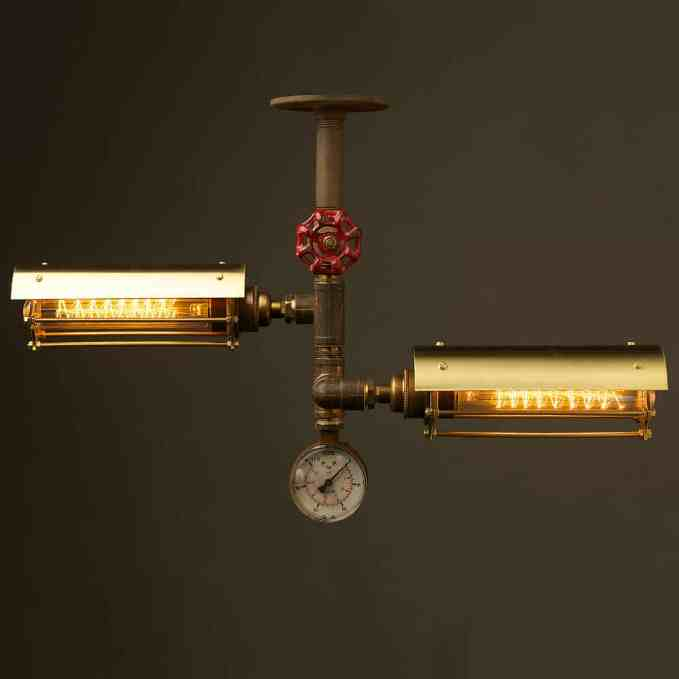 Industrial brass twin cage tube ceiling light $575.00