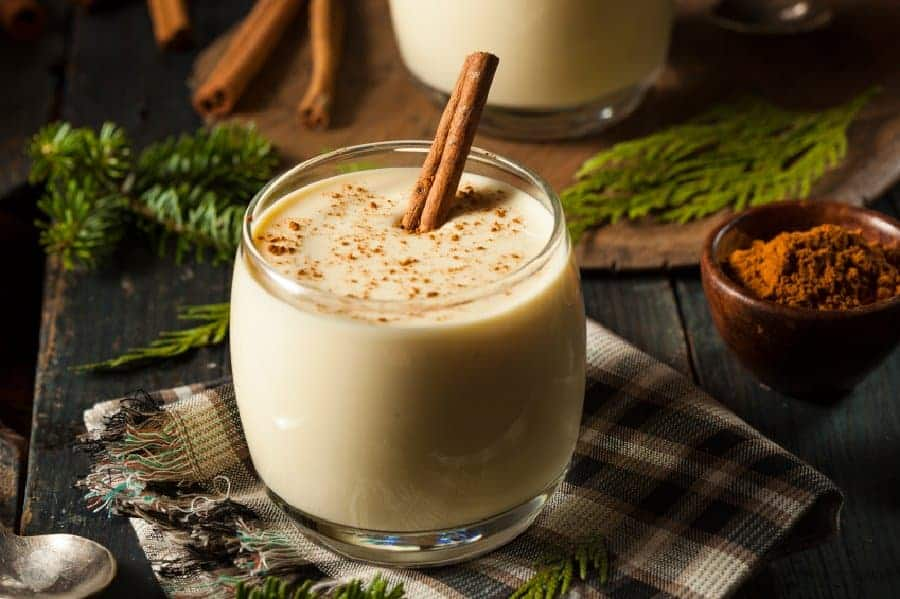 Homemade White Holiday Eggnog with a Cinnamon Stick