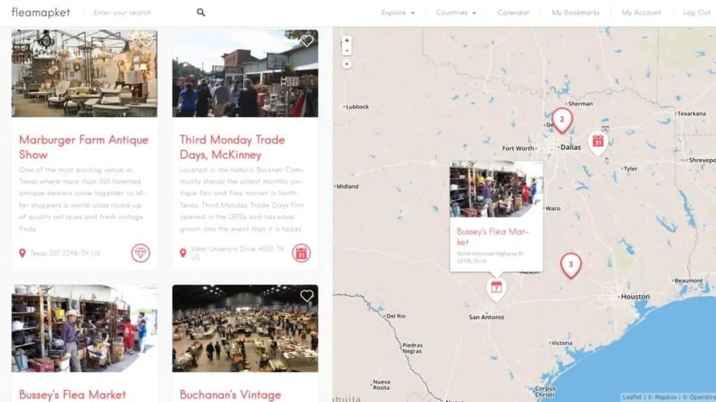 flea markets map Texas