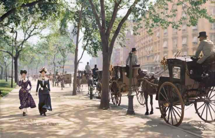 Madison Square Park New York City around 1900 color by Sanna Dullaway