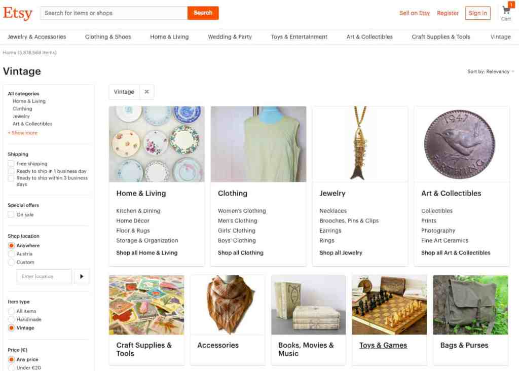 online shops for Vintage Etsy