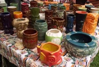 Mugs © Contemporary and vintage tiki mugs at TU Tiki Flea Akron Ohio