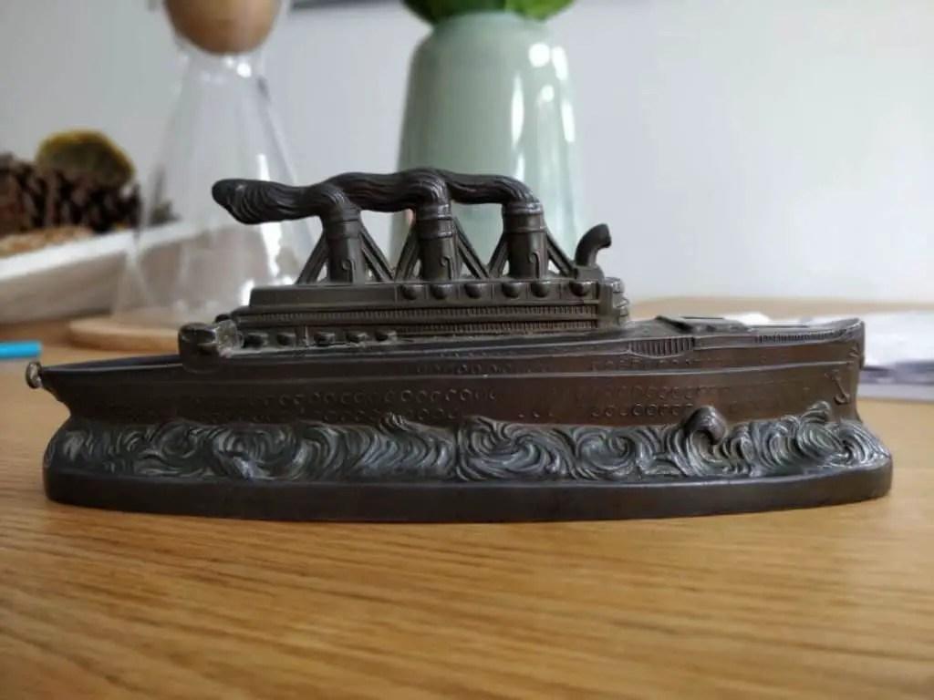 Art Deco pewter cruise ship moneybox 1