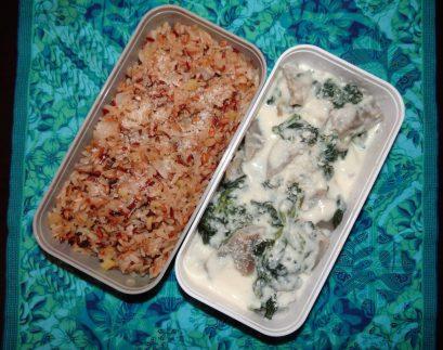 Fleanette's Kitchen - Riz aux pommes et aux oignons verts, coeurs d'artichaut, épinards et béchamel