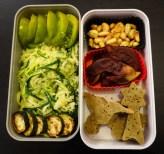 Green zebra, spaghettis de courgette, pomme au chocolat et oiseaux moelleux!