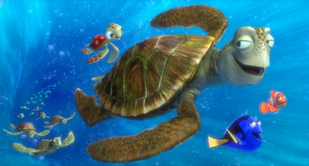 """FINDING NEMO 3D"" (L-R) SQUIRT, CRUSH, DORY and MARLIN. ©2012 Disney/Pixar. All Rights Reserved."