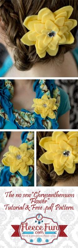 No Sew Fleece Flower (free pattern)