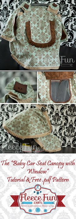 I love how this free baby car seat cover has a window so you can peek in on baby without disturbing their sleep.  Great free baby sewing pattern DIY idea.