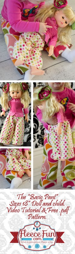 i love this free 18 inch doll pants pattern. it's really easy to make and and there is a matching pattern for little girls too!.