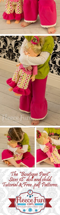 Such a cute 18 inch doll pants pattern and tutorial,  I love the easy to follow video and the free sewing pattern it has.  Great DIY idea.