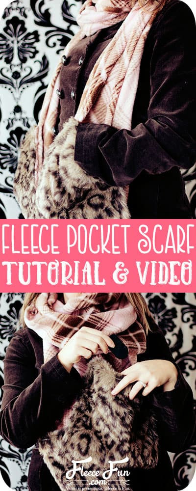 This fleece scarf with pockets tutorial is easy to follow. I love the fur trim on this scarf it's so fun! Great  DIY fleece sewing project.  Perfect winter sewing project.