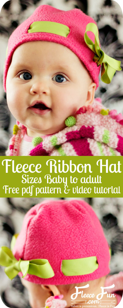 How adorable is this fleece hat tutorial? You can switch out the ribbon to go with outfits! Looks like there are easy sew instructions too! Love! Fleece Sewing project. Basic Fleece Hat With Ribbon Tutorial.