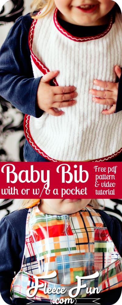 Love this free baby bib pattern pdf- actually it's two! One large bib, and one with a pocket to catch food - genius! Plus she has a video tutorial that explains it! Great sewing DIY idea. Perfect sewing project for baby!