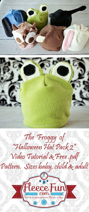 I love this cute free fleece hat pattern!  Such a cute frog hat that is perfect for keeping my little boy warm and cute! Easy sewing DIY idea.