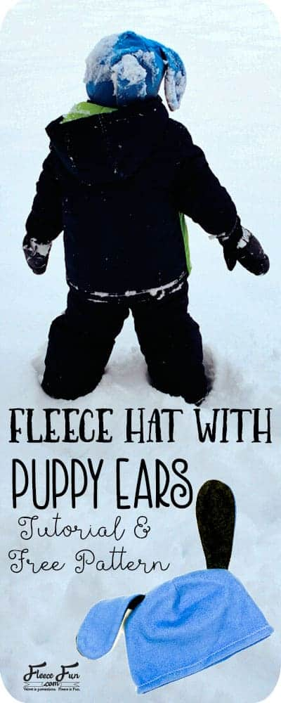 I love this easy DIY fleece hat.  It's a cute puppy hat that would be easy to sew up for a little kids.  Great idea for making a warm hat. free fleece dog hat pattern is a great fleece sewing project.