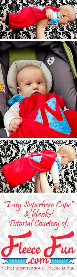 I love this cute super hero cape DIY! It goes around the arms and not the neck for safe play - plus you can turn it around to be a blanket for baby! Easy sewing idea.