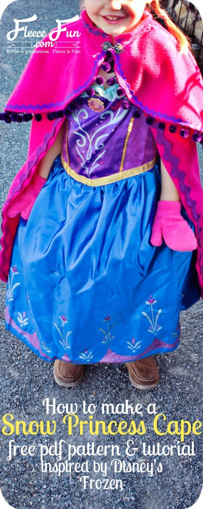 So cute! I love this fleece cape inspired by princess Anna's cape from Disney's Frozen. Free pdf pattern too!