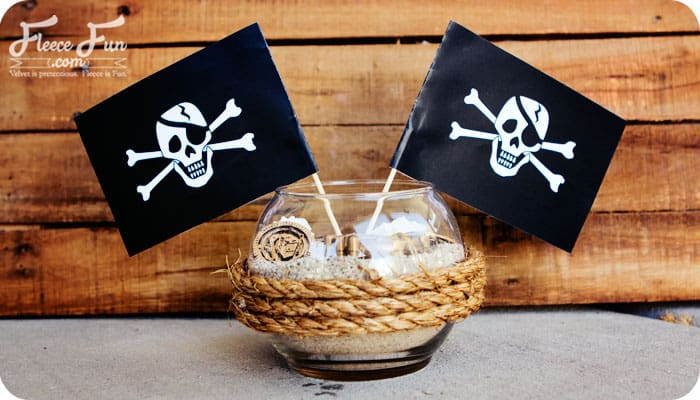 You can make these Pirate Party Centerpieces easily with this free printable and tutorial. Step by step instructions and FREE Printable.