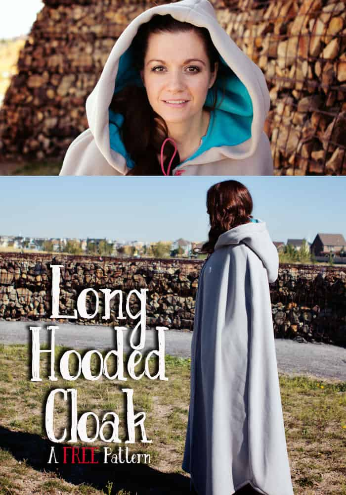 I love this! A FULL length hooded cloak that's a free sewing pattern with step by step instructions! Perfect for a DIY costume idea. Love this sewing project. Cape pattern sewing.