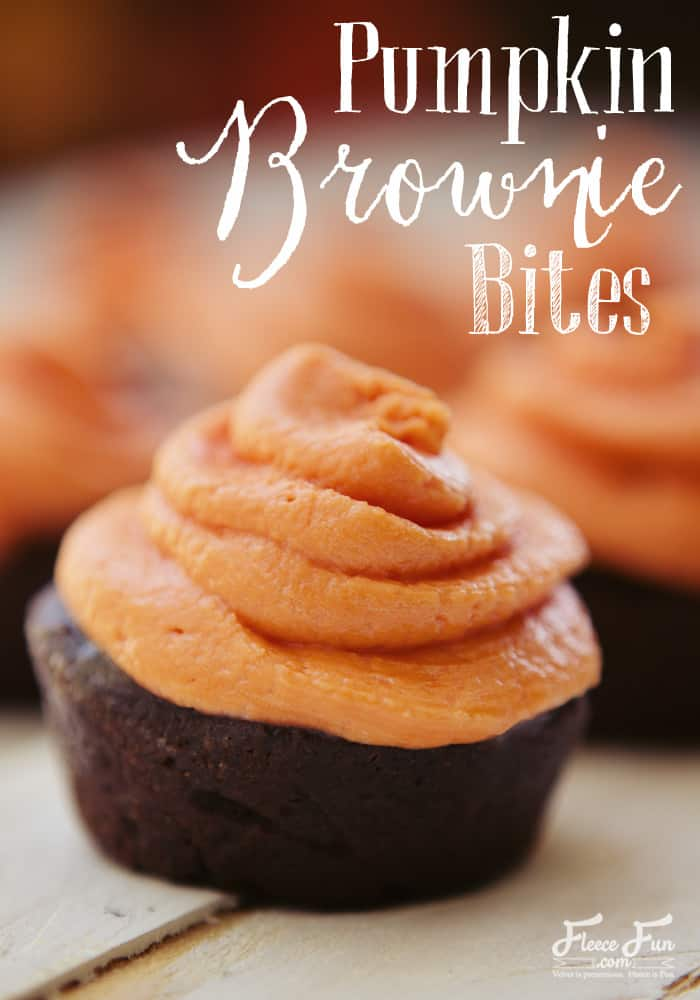 Pumpkin Brownie Bites recipe. The brownie bites are very moist due to the pumpkin. It also makes them very dense. The chocolate chips inside stay almost melted and so they seem like you are just pulling them from the oven each time you pop one into your mouth. Perfect for a Halloween party or even a fun new Thanksgiving dessert for the kids!