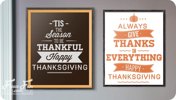 I love these free 8 x 10 Thanksgiving pritnables.  Just throw them into frames and put on your mantle.  I love the classic colors too!