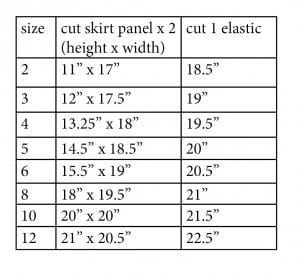 girls size chart