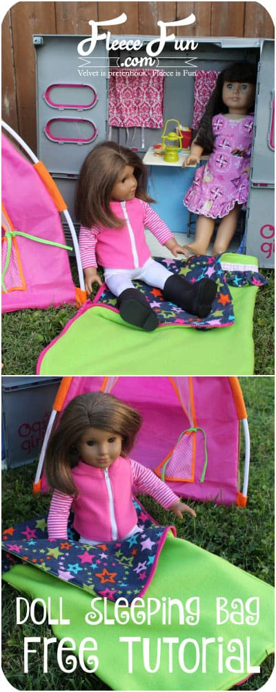 I love this 18 inch doll sleeping bag tutorial.  It looks cute and easy to sew.  Great DIY idea.  Perfect my girl's American Girl Doll.