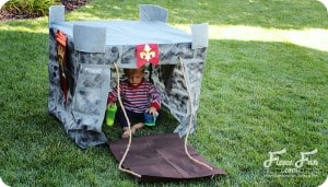 Wow I love this play castle tutorial. Such a great DIY idea for play for kids. Love how it fits onto a card table and folds into a bag when play is done!