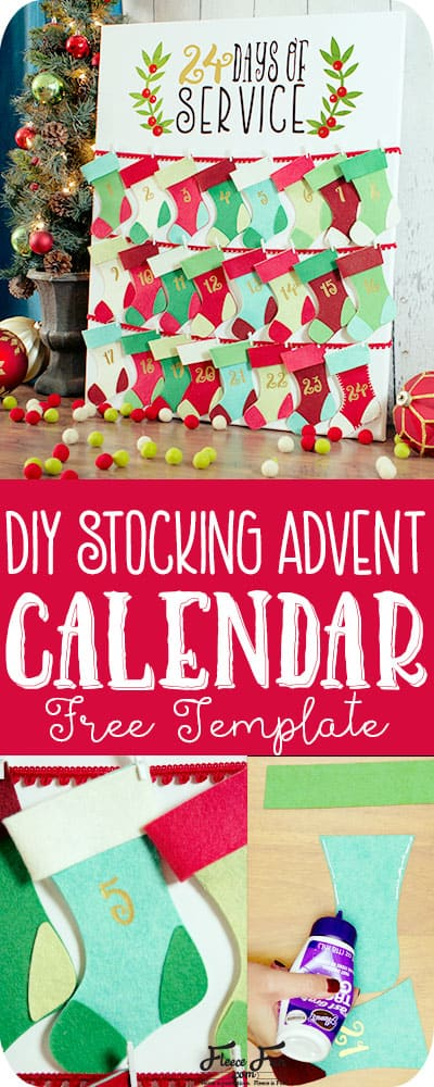 This Christmas Advent Calendar DIY Tutorial comes with a free SVG file template and is so easy to make!  I love how straight forward this sewing project is.  I also love that it can be a no sew project too! Advent Calendar DIY Christmas.