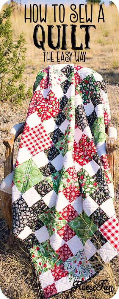 Learn how to sew a quilt the easy way using these step by step instructions with tips and tricks. Learn some basic quilting techniques that you can apply as a beginner to make the sewing process easier. 