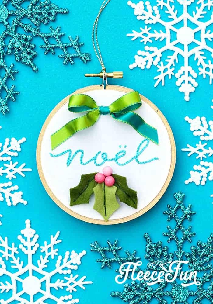 Wow this Christmas Embroidery Designs - Noel Hoop Ornament DIY makes a wonderful handmade gift. Easy step by step instructions and pictures. I love this handmade Christmas ornament and how beautiful it is, perfect for the holidays. #sewingproject #embroiderypatternsfree #handmadechristmasornaments