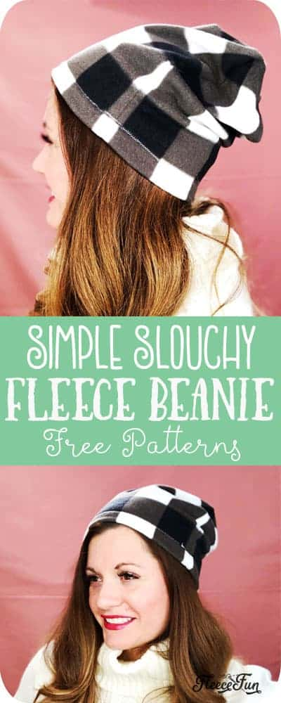 This Fleece Slouchy Beanie DIY comes with a FREE Pattern sizes baby to adult. Beginner friendly with clear step by step photos to make it easy. This fleece hat sew up quickly and makes wonderful gifts and keeps heads warm. Wonderful fleece sewing project. #sewingproject #fleecesewingprojects #fleecesewingpatterns #fleecesewingprojectsfreepattern #fleecehatpattern #fleecehatpattrnsfree