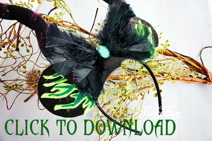 These Maleficent inspired Minnie Ears are perfect for chillin like a villain at your favorite Disney Park or a great idea for Mickey's Not So Scary Halloween Party. The free printable template makes it easy to put together. #minnieearsdiy #minnieearsheadband #minnieearsdiyhowtomake #maleficentcostume #maleficentcostumediy #disneycrafts #mickeysnotsoscarycostumes #mickeysnotsoscaryhalloweencostumes