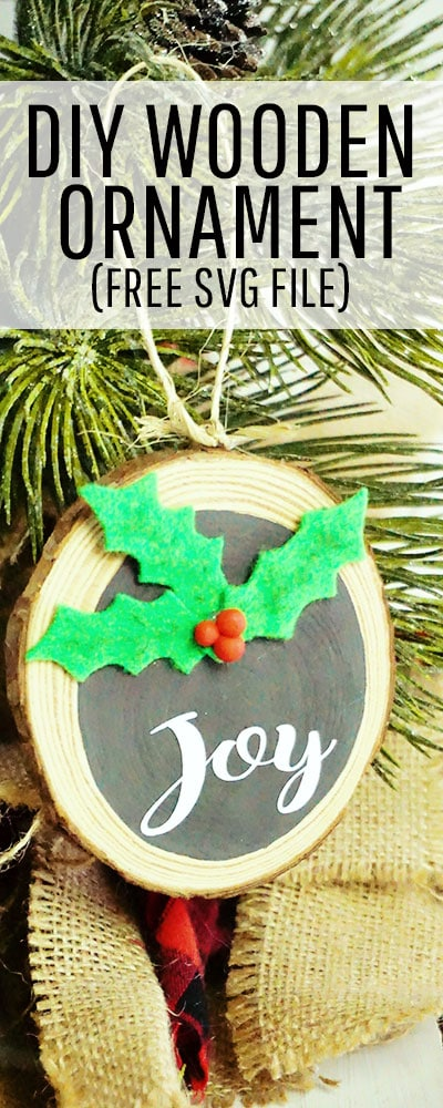 Homemade Christmas Ornament: This farmhouse style wooden Christmas ornament diy makes for the perfect addition to your holiday decor. Make it for your home or use it as a hostess or neighbor gift. This simple and sweet ornament comes together so easily you might just want to make several in one sitting. #treedecorations #holidaycrafts #handmadeornaments #joytotheworld  #hollyleaves #christmasbaubles #christmascraft #christmasdiy #christmasornament #christmasornaments #christmasdecoration #christmasdecorations #handmadechristmasdecoration #xmasdecoration #xmascrafts