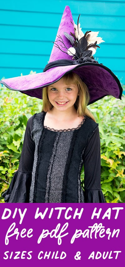 """Learn how to make a Witch hat with this step by step tutorial and free pattern! This """"couture"""" style hat is more flattering and fun than the typical dollar store version. FREE Pattern comes in sizes child and adult. #halloween #witchhatdiy #witchhatpattern #witchhatdiyhowtomake #witchhattutorials #witchhatpatternfelt #sewingpattern #halloweensewingpattern #howtomakeawitchhatoutoffelt #felt #freesewingpattern #diycostumes #diycostumeideas #diycostumeideasforwomen"""