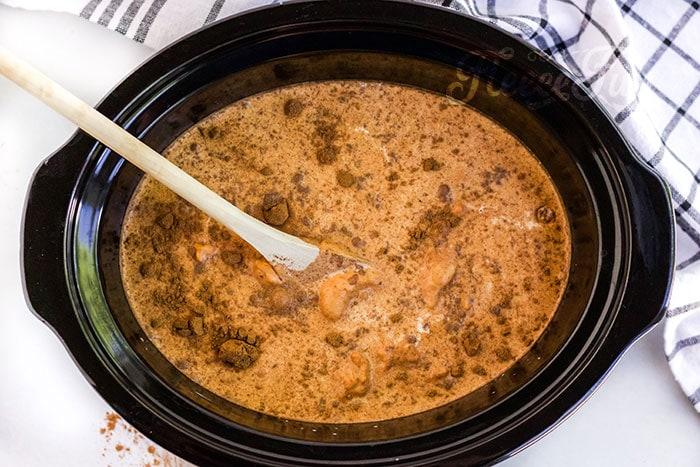 ingredients in the crock pot.