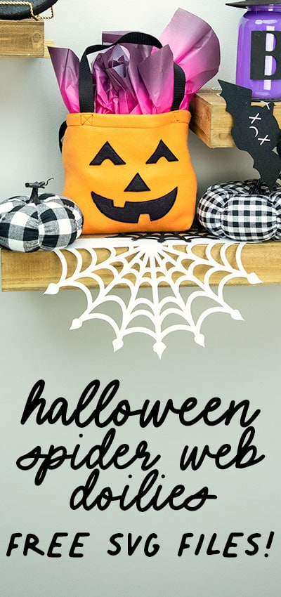 These Spider Web doilies Free SVG files are the perfect finishing touch to you Halloween decor!  The free SVG includes three designs:  A round doily perfect for sticking under lamps and objects.  A half circle shelf, and a corner floating shelf piece.  A little spooky with a lot a style, these doilies are sure to become a decorating favorite.  #freeSVG #cricutcreated #halloweendecor #spiderweb #doily