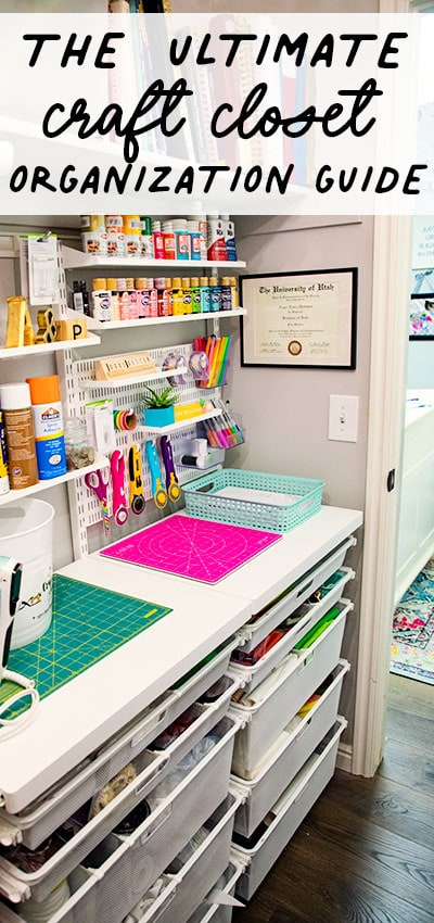 Craft Closet Organization is possible! See how I took my chaos to order and you can too! Step by step guide with before and after photos. Learn the five steps to designing the craft closet of your dreams.