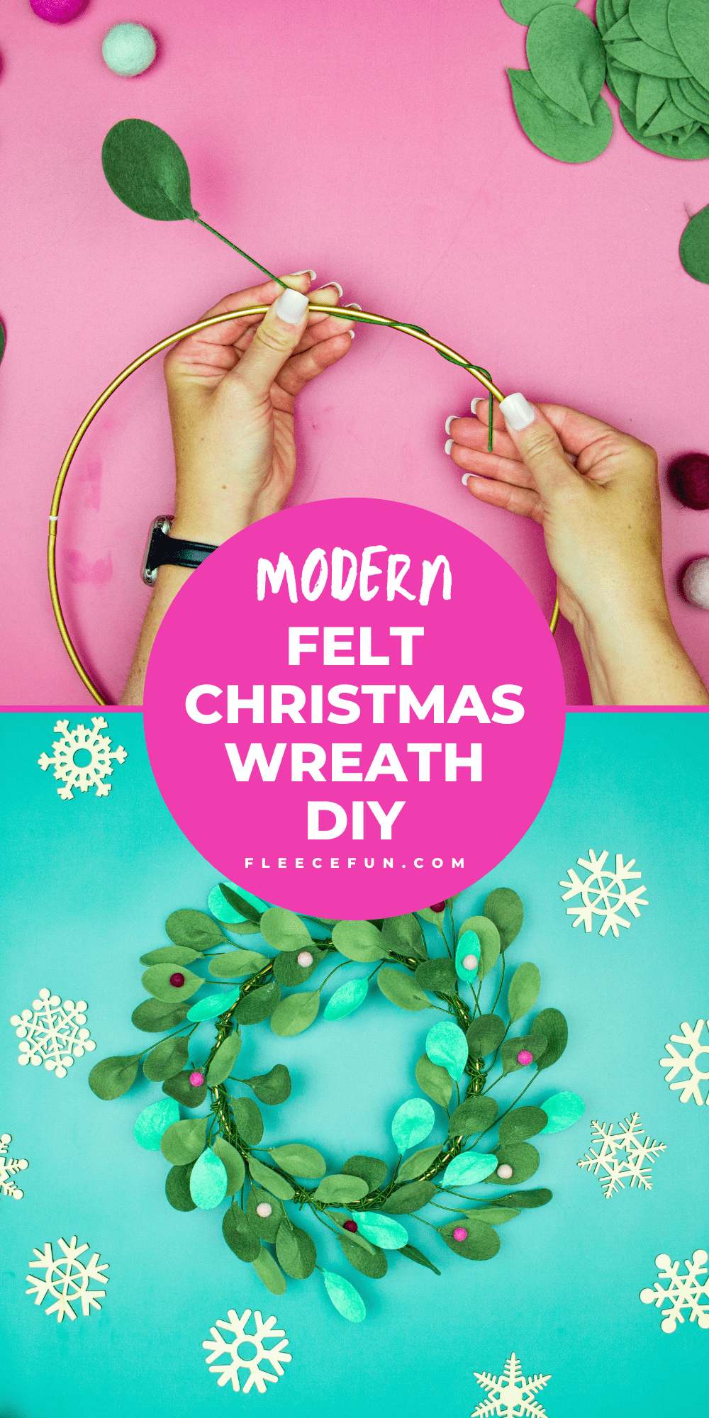 This modern Christmas Wreath DIY (made from felt) is a whimsical addition to your holiday décor. With a few items you can make this festive wreath. Because of the way it's constructed no two are alike. Make it as full or as thin as your taste's desire. Because it's made from felt, this wreath can be made in an array of colors to suit your style.