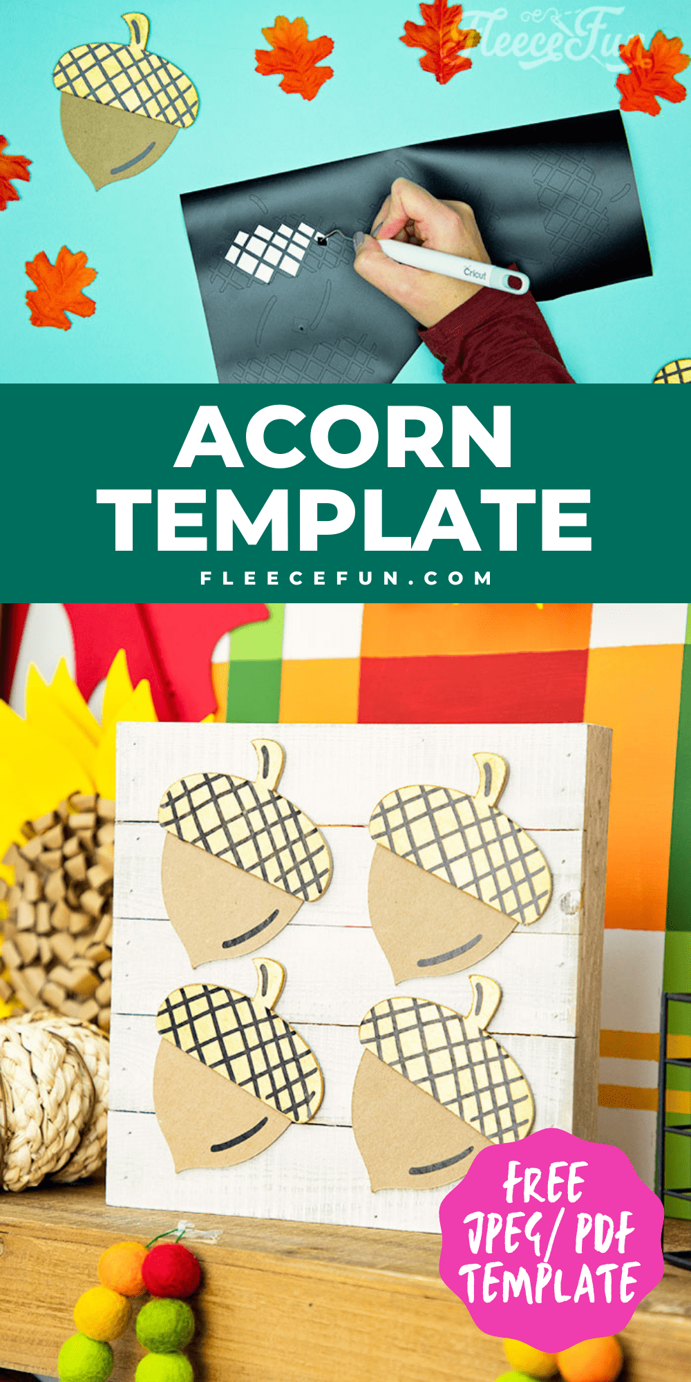 This Free Acorn template is the perfect little helper for making cute fall décor! The files come in JPEG and PDF so you can print up a template or upload it to Cricut Design Space. I'm going to show you just one of the ways you can use this template - but this versatile Acorn template can be used in many ways.