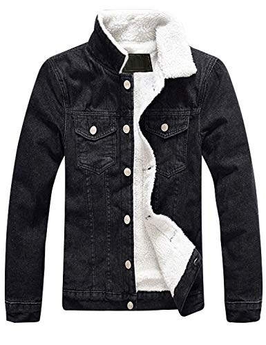 aliveGOT Mens Winter Stylish Button Front Sherpa Lined Leather Trucker Jackets
