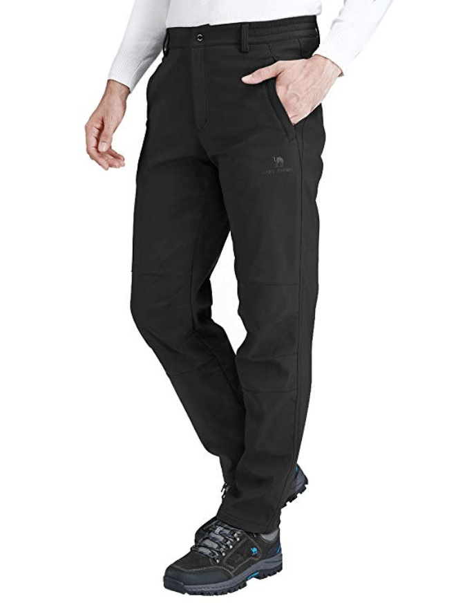 Winter Men Faux Fur Fleece Lining Pants Thermal Quilted Padded Trouser Warm Soft