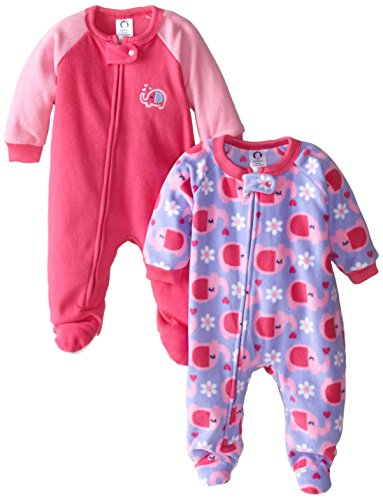 47fa1c649 Gerber Baby-Girls Newborn 2 Pack Blanket Sleepers, Elephant, 12 Months